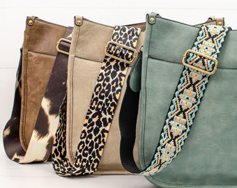 Vegan Leather Crossbody Purse With Guitar Strap - 5 Colors