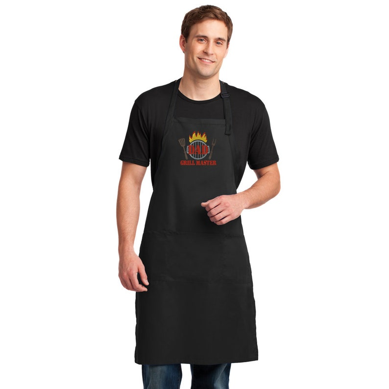 Fathers Day Grill Master Grilling Apron BBQ Gift for Dad Mens Apron King of the Grill Black Apron with Embroidery Big Green Egg Apron