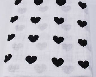 Baby Swaddle Muslin Blanket heart 100% cotton