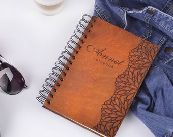 wooden notebook wood notebook with flowers personalized notebook personalized gift for her birthday gift for woman wooden cover sketchbook