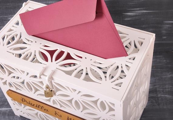 Mr /& Mrs Kacsoo Geschenkkartenbox f/ür Hochzeiten hohle Holzbox rustikal mit Schloss Basteln Briefkasten mit Schlitz Registrierungsbox f/ür die Hochzeitsfeier