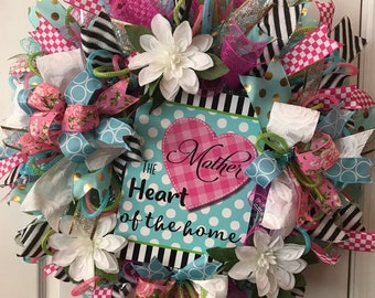 Mother the Heart of the Home, Deco Mesh Wreath, Deco Mesh Wreaths, Deco Mesh Reefs, Front Door Wreath, Spring Wreaths, Spring Wreath,