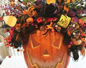Lighted Jack o Lantern, Jack o Lantern, lighted pumpkin, Whimsical Animated Pumpkin, Pumpkin centerpiece, Halloween home decor,
