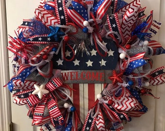 Patriotic Wreath, Welcome Wreath, Door Wreath, Red White Blue Wreath, July4th wreath, Deco Mesh Wreath, Deco Mesh Wreaths