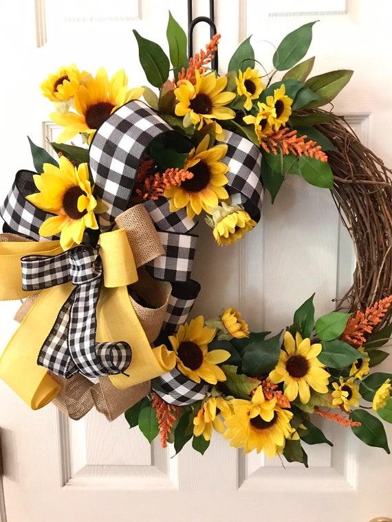 Everyday Wreath Sunflower Wreath Everyday Grapevine Wreath Etsy