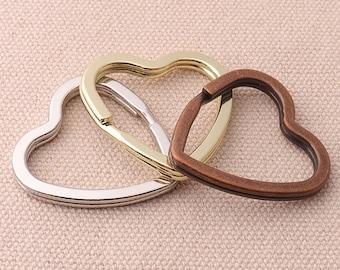 10pcs Heart Key Rings Iron Split Key Rings Silver ce68b2821
