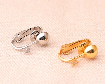 ecd983d75 12pcs (6pairs) Clip on earring converter Gold And Silver Color Earring Clip  non pierced ears change pierced over to clip