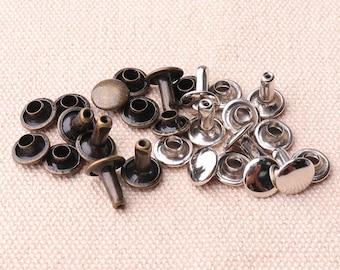 50pcs Double Cap Rivets 8*6mm Round Rapid Rivet Punk Rock Silver & bronze Color Leathercraft Rivet 8*6mm Cap Studs Rivets