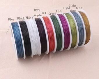 1 x 10m en acier inoxydable gris tiger tail beading wire 0.45mm fabrication de bijoux