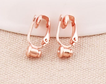 4215cc622 Clip on earring converter Rose Gold Plated Earring Clip non pierced ears  change pierced over to clip 6pairs