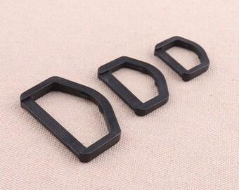 Plastic Black D Rings Buckle Webbing Belt Bag Loup Blinds Tie Backs Straps Craft