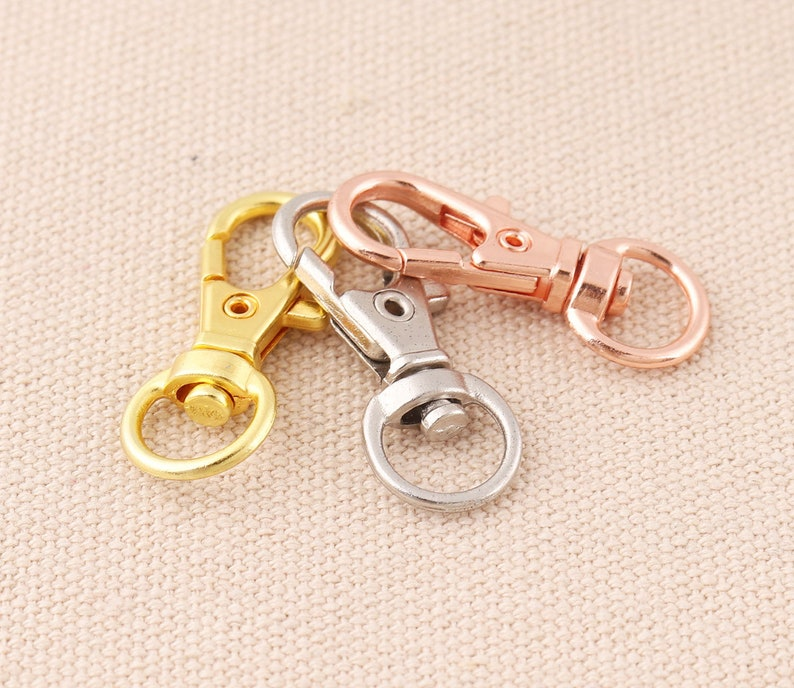 50pcs Small Lobster Clasp Silver 32*12mm rose gold,silver,gold Snap Hook Round Eye Keychain Clasp