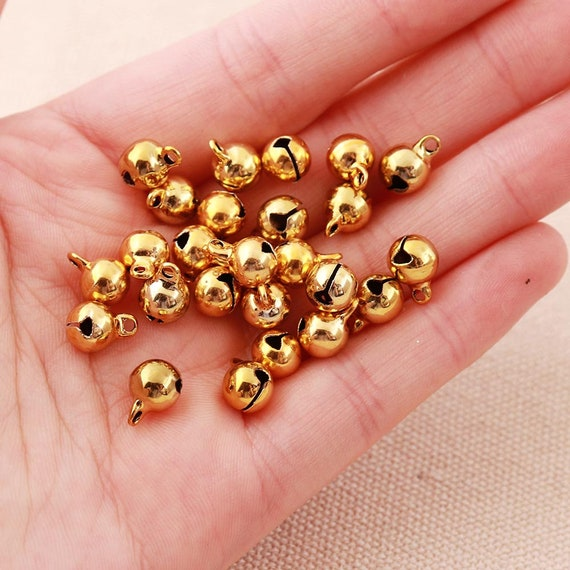 8mm /& 15mm Tiny Miniature Gold or Silver Jingle Bells Craft Charms 50 Pieces