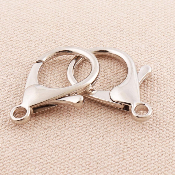 50pcs Brass Lobster Claw Clasps Silver For Jewelry Findings Bracelet 7x12mm