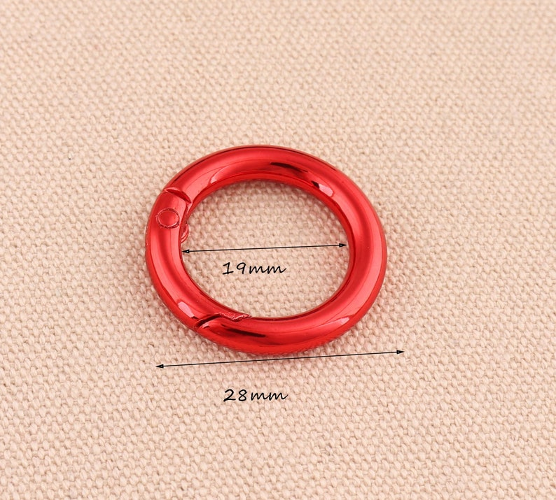 5pcs lot  spring ring metal push gate o ring 28mm outer open ring spring ring clasps  key ring round shape  red color