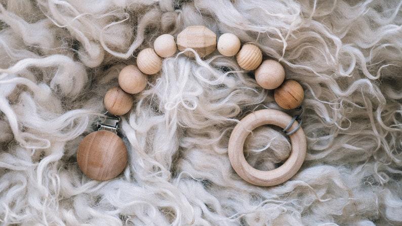 PACIFIER clip  Wooden teething toy  teething rope  baby image 0