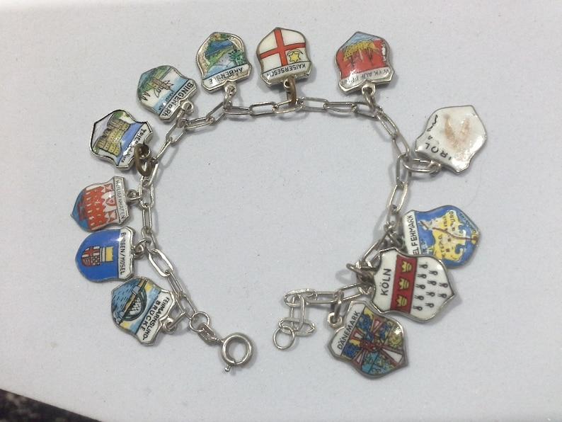 Vintage 12 Silver & Enamel Shield Charm Travel Bracelet Danemark Burgen Mosel Germany