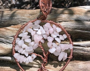 Rose Quartz and Copper Wire Wrapped Tree Of Life Pendant