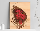 Darth Maul Wooden Engraved Poster, Wooden Poster, Wood Burning, Engraved Art, Laser Engraved, Laser Engraved Art, Laser Wood Engraving