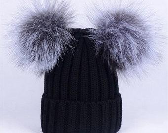 00ea242a598 Black Real fur pom Hat Knit Hat With Silver Fox Fur Pompom Ball Knitted Hat  Beanie Cap pom pom Hat-MagicFur Handmade