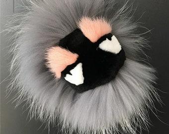 Gray Real Raccoon mink Fur Monster Pompom Ball Bag Bugs Charm Fashion  Keychain Handbag Keyring Pendant -MagicFur Handmade 18d0092bb0