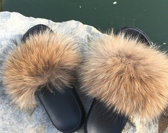 356fa89157bb Genuine Real Natural Raccoon Fur Slipper Sandals Shoes Slider Indoor  Outdoor Flat Flip Flops -MagicFur Handmade