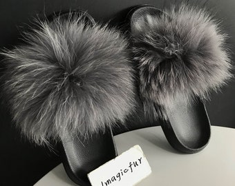 25488399c978 Genuine Real Raccoon Fur Dark Gray Raccoon Fur Slipper Sandals Shoes Slider  Indoor Outdoor Flat Flip Flops -MagicFur Handmade