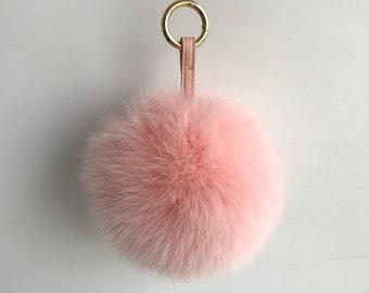 c8e1f3a6556d 15cm Light Pink Real Fox Fur pompom Ball Keychain Handbag Charm Key Ring  Purse Keyring Pendant Accessories-MagicFur Handmade