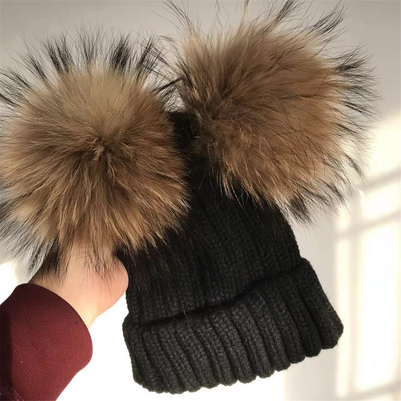 Black Real fur pom Hat Knit Hat With Double pom Real Raccoon  d8791048a89