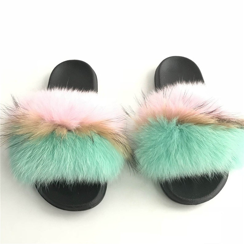 a6fea75d6 Real Fox Fur Slipper Pink-Natural Brown-Green Color Slider   Etsy