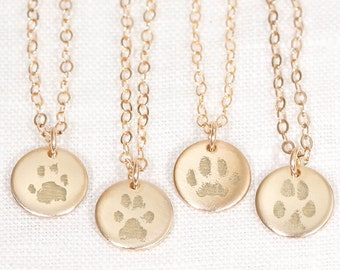 Paw Print Necklace • Actual Paw Print • Pet Memorial Jewelry • Cat or Dog Paw Print • Pet Loss • Engraved Paw Print • Remember Your Pet