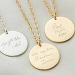 Custom Handwriting Necklace • Actual Handwriting Jewelry • Memorial Gift • Keepsake Jewelry • Engraved Handwriting • Meaningful Gifts