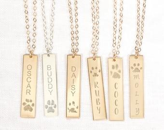 Custom Paw Print Necklace • Paw Print Bar Necklace • Pet Name Necklace • Pet Owner Necklace • Pet Loss Necklace