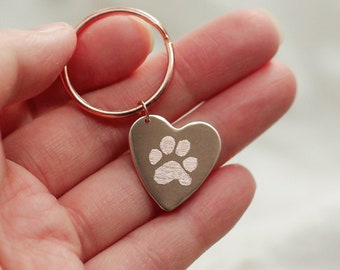 Actual Paw Print Keychain • Custom Heart Keychain • Personalized Heart Keychain • Custom Pawprint Key • Pet Keychain • Dog Key chain Jewelry