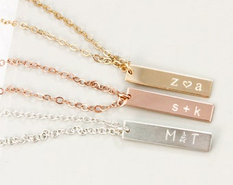 Personalized Necklace • Double Initial Necklace •  Gold Engraved Necklace • Rose Gold Initials • Letter Necklace • Gift for Mom and Sisters