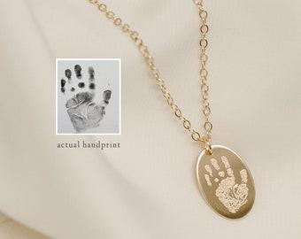 Handprint Necklace • Actual Image of Handprint • Handprint Jewelry • Engraved Handprint • Child Hands • Child's Footprint Necklace Jewelry