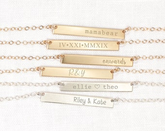 Kids Name Bar Necklace  • Personalized Name Necklace • Gift for Her • Pregnancy Announcement • Push Present Jewelry