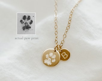 Paw Print with Initial Necklace • Actual Dog Cat Paw Prints • Custom Pet Paw & Nose print Necklace • Initial Disc Necklace • Memorial Loss