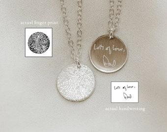 Fingerprint Custom Necklace • Actual Fingerprint & Custom Handwriting Necklace • Actual Handwriting Jewelry • Memorial Pieces, Keepsake Gift