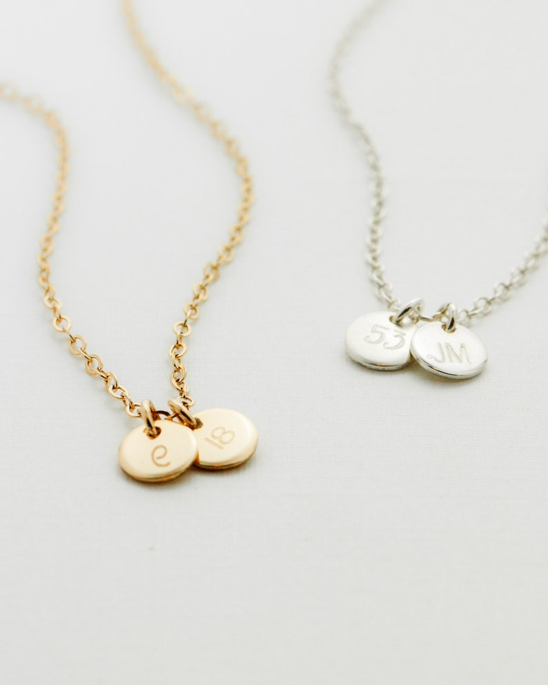Tiny Gold Disc Necklace  Gold Initial Disc Necklace  Lucky image 0