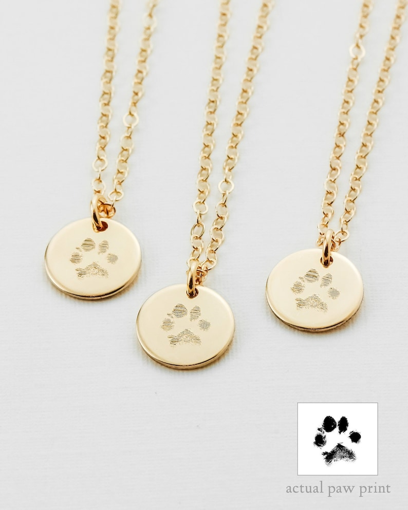 Paw Print Necklace  Actual Paw Print  Pet Memorial Jewelry  image 0