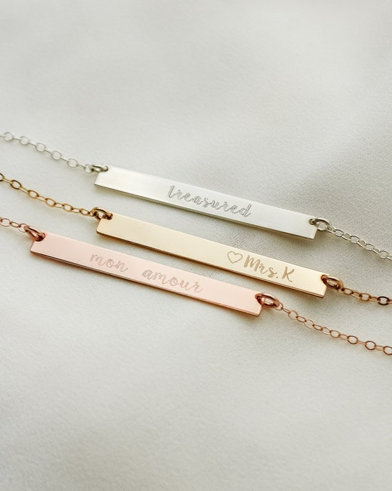 Wedding Sorority Engraved Bar Necklace Best friend gift Bridesmaid gif Custom Engrave Dainty Initial Sterling Silver Necklace