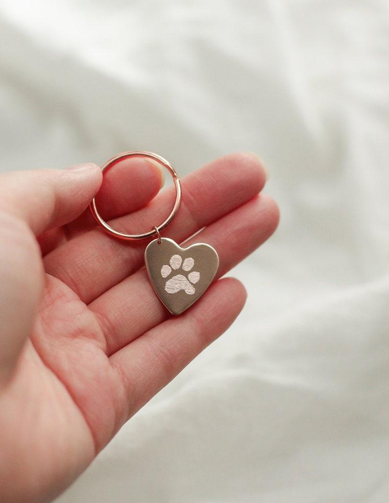 Actual Paw Print Keychain  Custom Heart Keychain  image 0