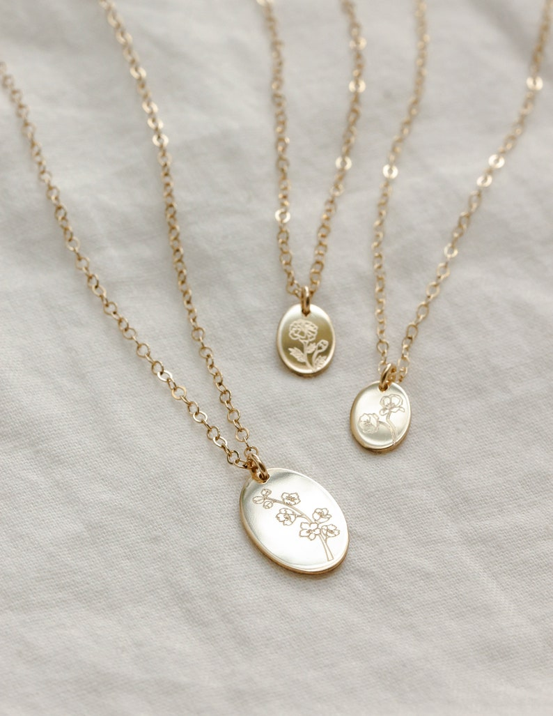 Mother Daughter Birth Flower Necklace Sets  Birth Month image 0