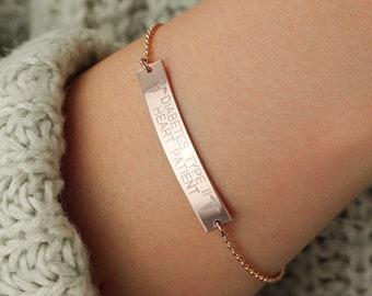 Custom Emergency Bracelet • Allergy, Blood Type, Diabetes • Medical Alert Bar • Personalized Medical Bar • Gold Filled and Sterling Silver