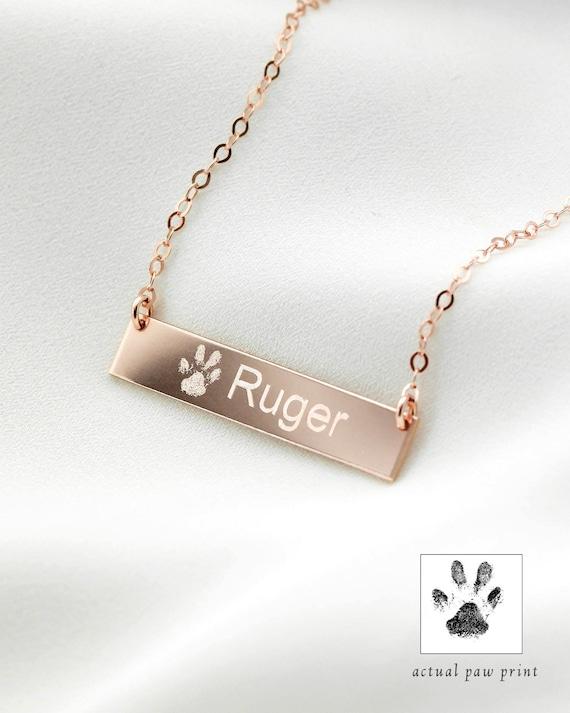 dog necklace Pet Memorial pet memorial pet jewelry gift pet name necklace Custom pet necklace animal necklace Paw Print cat necklace