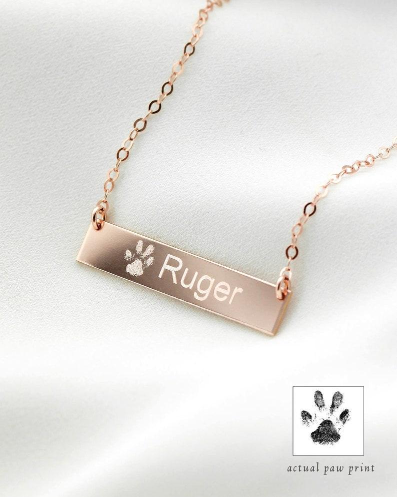 Custom Paw Print Necklace  Pet Name Bar Necklace  Pet image 0
