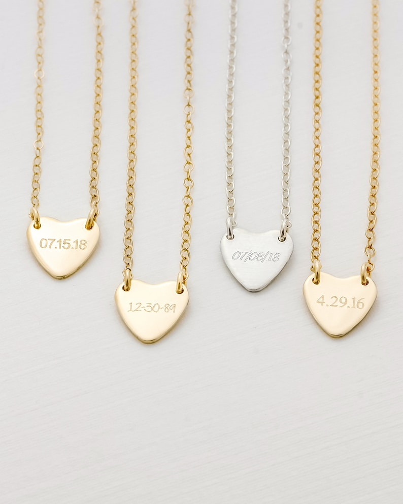 Personalized Heart Necklace  14K Gold Filled Rose Gold image 0