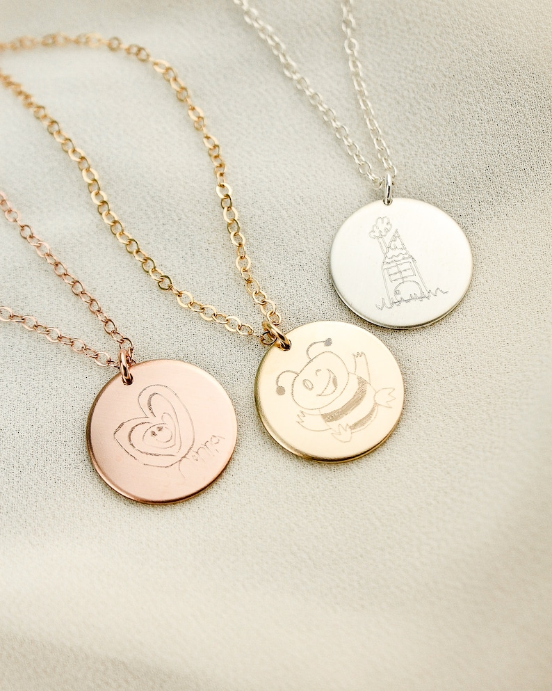 Mom Necklace  Kids Drawing Necklace  Children Art Jewelry  image 0