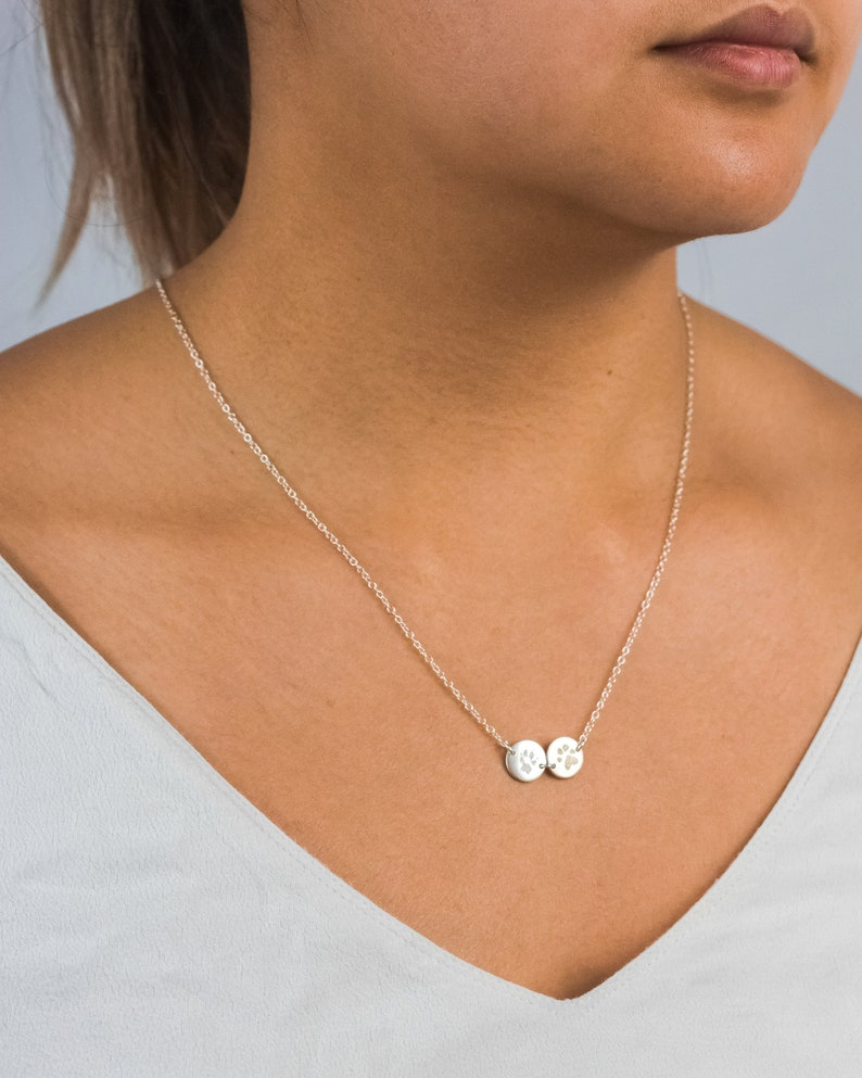 Custom Paw Print Disc Necklace  Paw Print Bracelet  In image 0